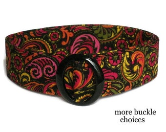 Fabric Belt in Black Pink, Women's D-ring Belt, Colorful Paisley Ribbon Belt / Cloth Waist Belt size for women and teens - Plume