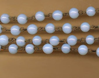 rare vintage rosary chain opalescent glass antique rosary chain milky dreamy white brass chain FIFTEEN inches