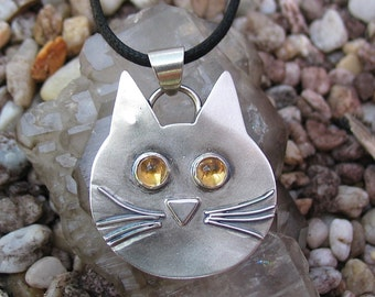 Cat Face Pendant, Cat Necklace with Citrine Gemstone Eyes, Cat Jewelry, Animal Jewelry, Cat Lover Gift, Sterling Silver, Donation
