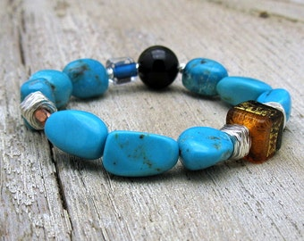 Arizona Turquoise Boho Beaded Bracelet and Sterling Silver, cooljewelrydesign, Murano Glass Turquoise Stretch, Girlfriend, for her Under 400