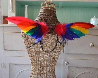 Feather wings Faerie Rainbow Pride Pixie Size Made to Order