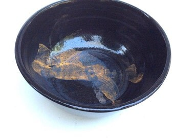 handmade black bowl -ceramic pottery-mixing- serving- gift-ready to ship