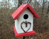 Chickadee Wren Songbird White and Red Primitive Birdhouse Heart Grapevine Wreath