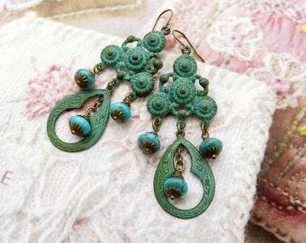 Turquoise earrings Patina chandelier earrings Kingman turquoise Bohemian jewelry