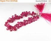 CIJ SALE Stunning Natural Deep Pink Red Genuine Ruby Rubies Faceted Pear Flat Tear Drop Teardrop Gemstone Briolettes 8mm - 9mm (4 beads)