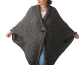CLEARANCE 50% SALE Plus Size Over Size Brown Wool Overcoat - Poncho - Cardigan