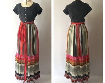 1960's Maxi Dress Linen and Cotton Voile Striped Skirt