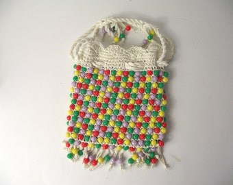 1960's Beaded Purse Multi-Colored Floral Carved Plastic Beads Made in Italy