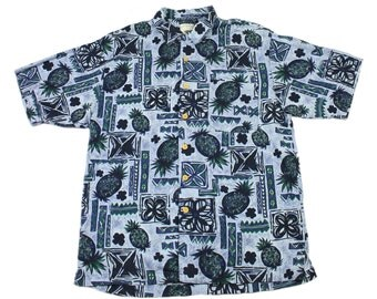 Vintage 1990s 90s Pineapple Print Rayon Hawaiian Shirt in Blue/Green Mens Retro Clothing Size M Medium