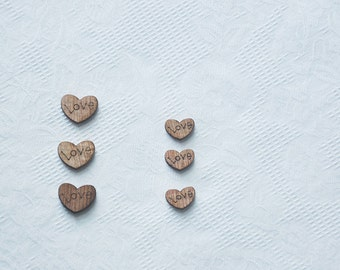 100pcs+ Tiny 9mm Zakka wood Hearts