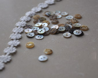 30pcs+ 9mm Shell Round Buttons/ Mother of Pearl buttons