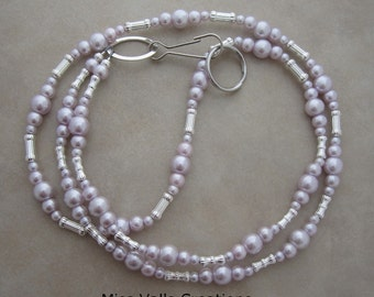 lilac pearl silver lanyard badge ID holder