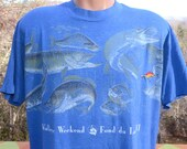 vintage 80s t-shirt FISHING walleye wisconsin lake soft thin tee XL Large