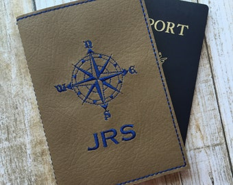Personalized For Him Passport Cover - Taupe Faux Leather Passport Holder - Compass Motif Passport Cover with Monogram - Travel Gift for Men
