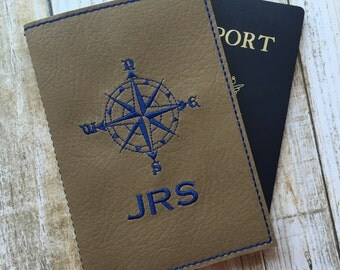 Personalized Passport Cover for Men - Taupe Faux Leather Passport Holder - Compass Motif Passport Cover with Monogram - Travel Gift for Him