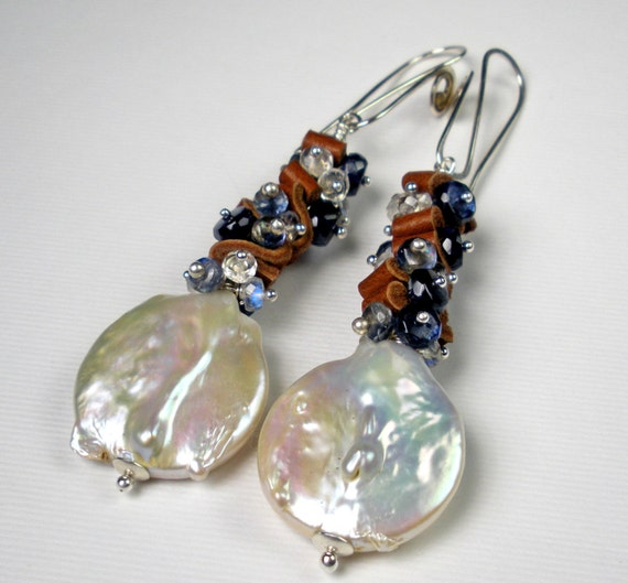 RESERVED For SUE LIN-Coin Pearl Earrings- Gemstone and Pearl Earrings with Leather, Fine Silver, Kyanite and Moonstone- Country Girl Pearls