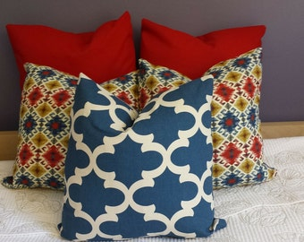 Decorative Throw Pillow Cushion Covers Denim Navy Red Yellow Diamond Quatrefoil-Fall Winter Xmas Thanksgiving Decor Choose Size/Color