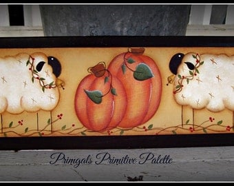 Primitive Sheep Pumpkin Fall Wood Plaque Home Decor Autumn Decoration