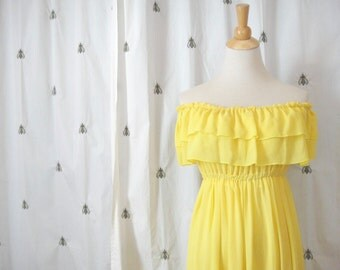 Vintage Handmade Lemon Yellow Dress, Off the Shoulder, Ruffle, Size Small, Medium, Formal, Prom, Party Dress