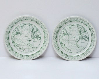 Vintage Porsgrund Norway F A Schraembl Ancient Atlantic Map Plates, Pair