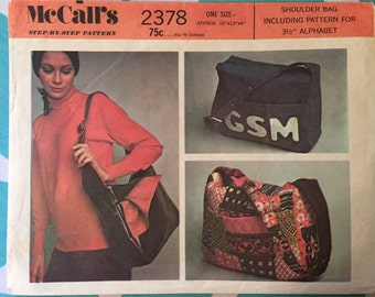 Vintage 1970s McCall's #2378 Shoulder Bag Pattern - With Letters - UNCUT - NC - Vintage McCall's Pattern / 70s McCall's / 70s Pattern