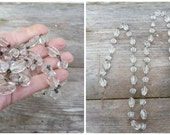 Vintage glass faceted round & oblong beads garland  pendants for chandelier Lenght 33.1 inches