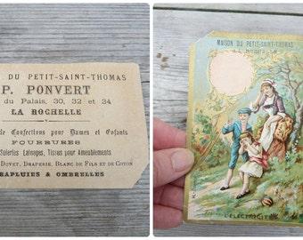 Vintage Antique 1900s  French chromolithograph  illustration advertisment visit card/La Rochelle