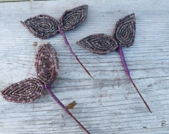 Vintage French glass beadwork /Set of 3  glass beaded branches leaf