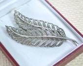 Art Deco Platinin and Marcasite Stones Double Leaf Brooch - Sparkling Silver Tone - Gift Box