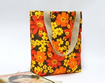 Floral Retro Market Shopping Bag  - Reusable grocery Tote - Handmade with Love from Vintage Fabrics