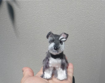 Needle Felted Dog / Custom Pet Portrait  / Handmade Poseable Artist Sculpture Personalized gift /example Miniature Schnauzer