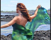 Belly dance costume silk veil blended hand dyed in Hawaii