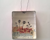 Original Textile Art in a tin - flowers 94