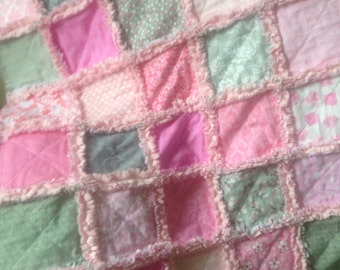Pink/gray/minkee  baby rag quilt 32x41 inches