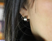 Petite sterling silver cuff earrings - minimalism, clean lines, elegant, classic, go with everything