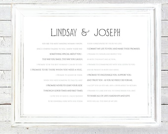 framed wedding vows custom print one year anniversary paper anniversary wedding keepsake typography wall art centered 1602