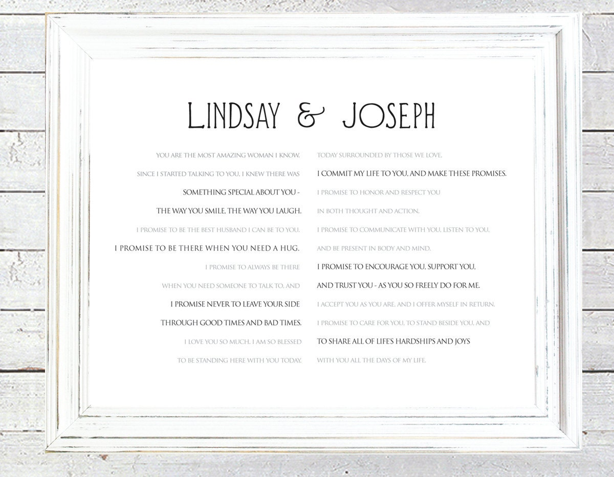 framed wedding vows custom print one year anniversary paper