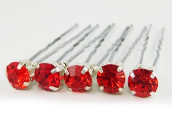 Light Siam Red Rhinestone Hair Pins - Red Crystal Hair Pins, Red Wedding Hair Pins, Red Bobby Pins - 7mm/5 qty - FLAT RATE SHIPPING