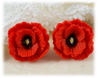 Poppy Earrings Stud or Clip On - Poppy Jewelry Collection