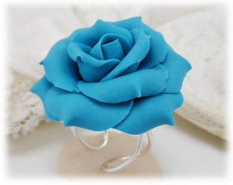 Turquoise Rose Ring - Turquoise Flower Ring, Adjustable Flower Ring, Large Rose Ring, Aqua Rose Ring, Turquoise Flower Statement Ring