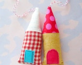 Little Fabric Christmas House Ornaments Set of Two
