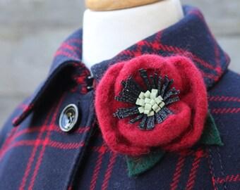 Wool Poppy Brooch Red Poppy Pin