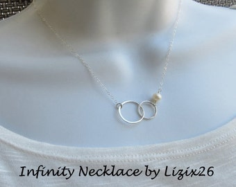 TWO DAY SALE Bridal Infinity Necklace, Sterling Silver Interlocking Bridal Necklace, Anniversary Matron of Honor Gift, Silver Maid of Honor