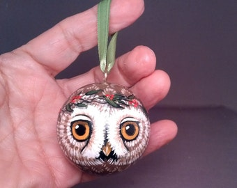 Owl Christmas Ornament Hanging Ball Hand painted
