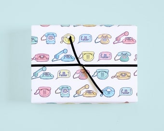 Retro Mid Century Gift Wrap / Vintage Phones / Rotary Phone / Phone Print / Cute Wrapping Paper
