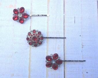 Bridal Hair Pins Wedding Hair Clip Bridal Bobby Pins Red Rhinestone Bobby Pins Red Wedding Hair Pins Red Bridesmaid Hair Pins Gifts for Her