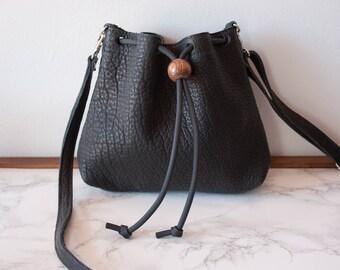 Mini Bucket Bag in Black Bison / Small Bucket Bag / Leather Bucket Bag / Leather Crossbody Bag / Black Leather Purse / Minimalist Bag