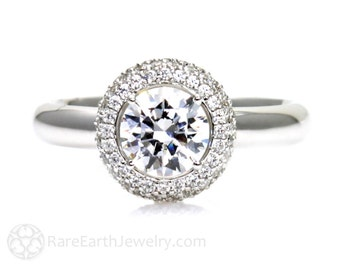 Pave Diamond Halo White Sapphire Engagement Ring Sapphire Ring  Custom Bridal Jewelry