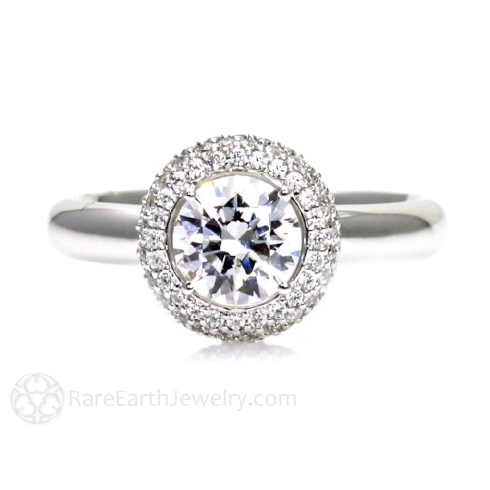 Pave Diamond Halo White Sapphire Engagement Ring Sapphire Ring