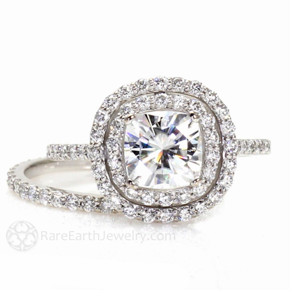 Moissanite Double Halo Ring Wedding Set Cushion Moissanite
